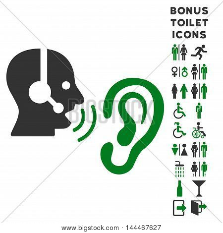 Listen Operator icon and bonus gentleman and lady lavatory symbols. Vector illustration style is flat iconic bicolor symbols, green and gray colors, white background.