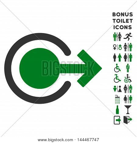 Logout icon and bonus man and female restroom symbols. Vector illustration style is flat iconic bicolor symbols, green and gray colors, white background.