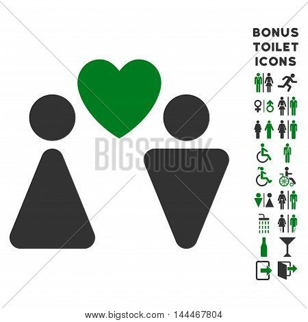 Love Couple icon and bonus gentleman and female WC symbols. Vector illustration style is flat iconic bicolor symbols, green and gray colors, white background.