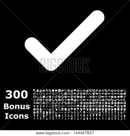 Ok icon with 300 bonus icons. Vector illustration style is flat iconic symbols, white color, black background.