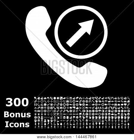 Outgoing Call icon with 300 bonus icons. Vector illustration style is flat iconic symbols, white color, black background.