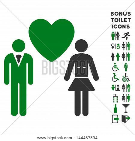 Love Persons icon and bonus male and woman toilet symbols. Vector illustration style is flat iconic bicolor symbols, green and gray colors, white background.