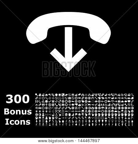 Phone Hang Up icon with 300 bonus icons. Vector illustration style is flat iconic symbols, white color, black background.