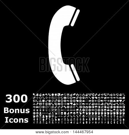 Phone Receiver icon with 300 bonus icons. Vector illustration style is flat iconic symbols, white color, black background.