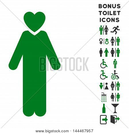 Lover Man icon and bonus male and female WC symbols. Vector illustration style is flat iconic bicolor symbols, green and gray colors, white background.