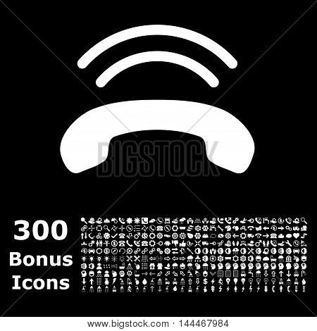 Phone Ring icon with 300 bonus icons. Vector illustration style is flat iconic symbols, white color, black background.