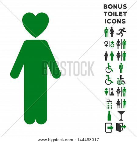 Lover Man icon and bonus gentleman and female toilet symbols. Vector illustration style is flat iconic bicolor symbols, green and gray colors, white background.