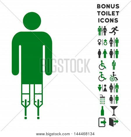 Man Crutches icon and bonus male and woman WC symbols. Vector illustration style is flat iconic bicolor symbols, green and gray colors, white background.