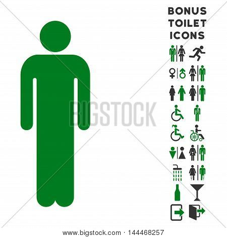 Man icon and bonus man and lady WC symbols. Vector illustration style is flat iconic bicolor symbols, green and gray colors, white background.