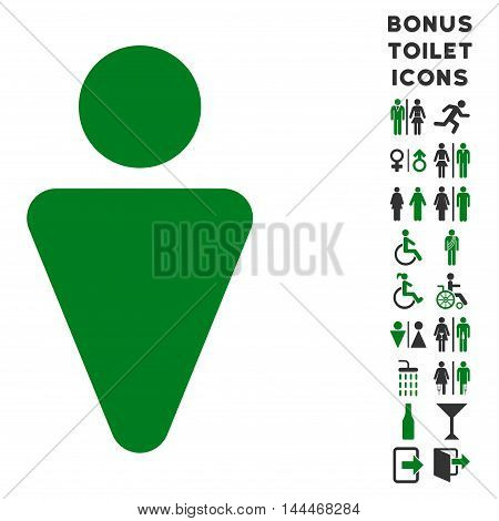 Man icon and bonus man and lady restroom symbols. Vector illustration style is flat iconic bicolor symbols, green and gray colors, white background.