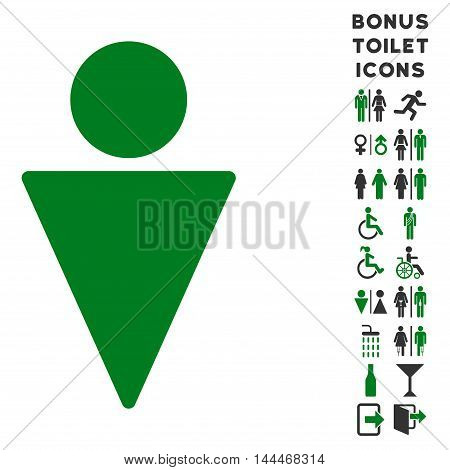 Man icon and bonus male and woman lavatory symbols. Vector illustration style is flat iconic bicolor symbols, green and gray colors, white background.