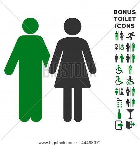 Married Couple icon and bonus gentleman and woman WC symbols. Vector illustration style is flat iconic bicolor symbols, green and gray colors, white background.