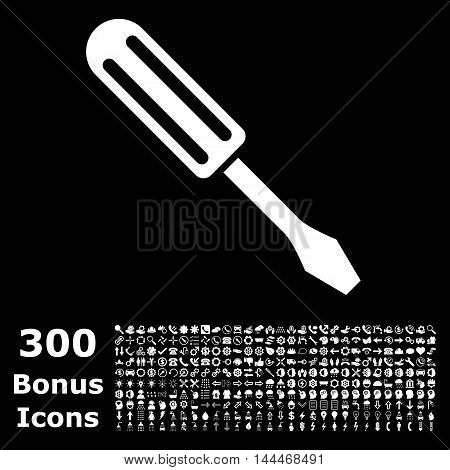 Screwdriver icon with 300 bonus icons. Vector illustration style is flat iconic symbols, white color, black background.
