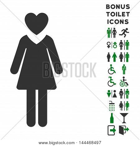 Mistress icon and bonus man and lady lavatory symbols. Vector illustration style is flat iconic bicolor symbols, green and gray colors, white background.