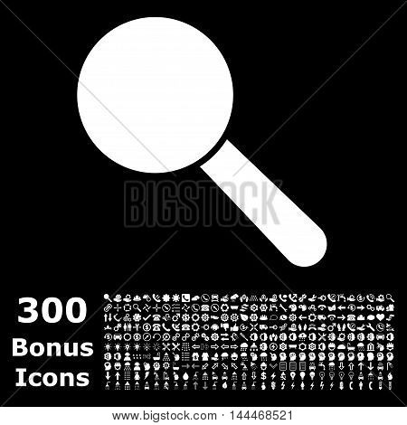 Search Tool icon with 300 bonus icons. Vector illustration style is flat iconic symbols, white color, black background.