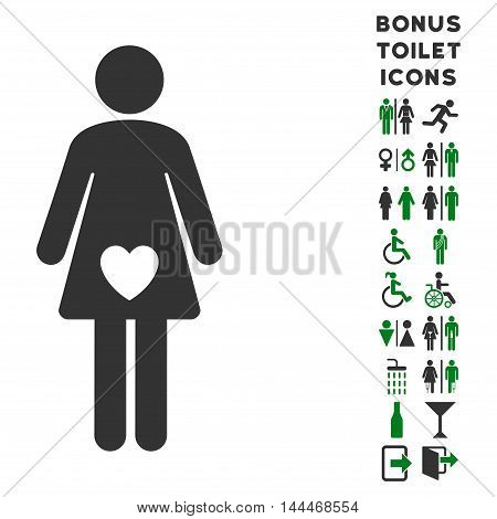 Mistress icon and bonus gentleman and female restroom symbols. Vector illustration style is flat iconic bicolor symbols, green and gray colors, white background.
