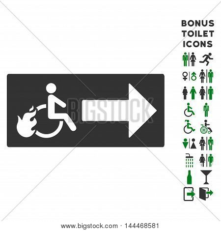 Patient Exit icon and bonus gentleman and lady toilet symbols. Vector illustration style is flat iconic bicolor symbols, green and gray colors, white background.