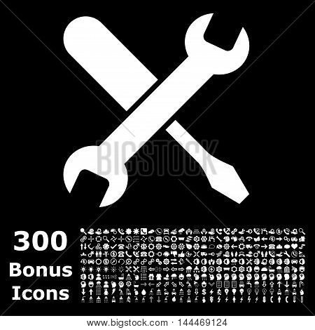 Tuning icon with 300 bonus icons. Vector illustration style is flat iconic symbols, white color, black background.