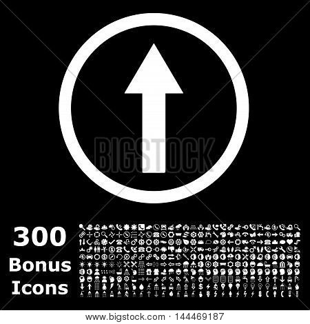 Up Rounded Arrow icon with 300 bonus icons. Vector illustration style is flat iconic symbols, white color, black background.