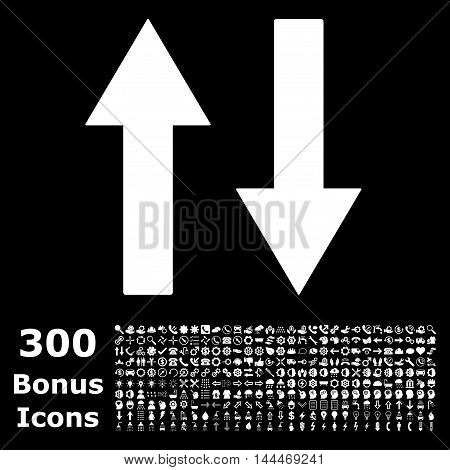 Vertical Flip Arrows icon with 300 bonus icons. Vector illustration style is flat iconic symbols, white color, black background.