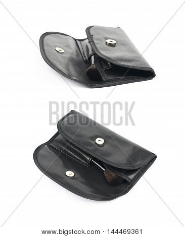 Makeup tools black case bag isolated over the white background, set of two different foreshortenings