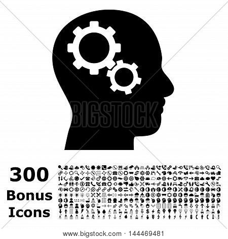 Brain Gears icon with 300 bonus icons. Vector illustration style is flat iconic symbols, black color, white background.