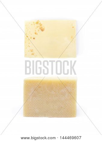 Piece of cheese isolated over the white background, set of two different foreshortenings