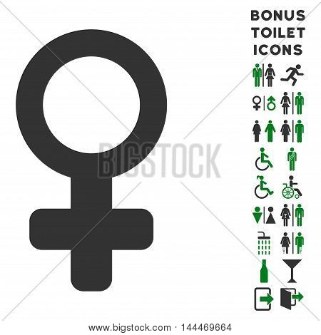 Venus Symbol icon and bonus man and lady WC symbols. Vector illustration style is flat iconic bicolor symbols, green and gray colors, white background.