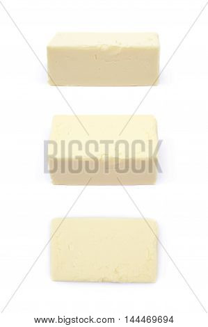 Piece of cooking butter isolated over the white background, set of three different foreshortenings
