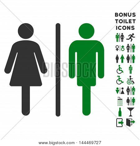 WC Persons icon and bonus man and lady lavatory symbols. Vector illustration style is flat iconic bicolor symbols, green and gray colors, white background.
