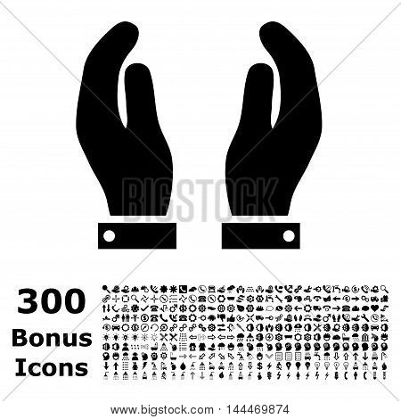 Care Hands icon with 300 bonus icons. Vector illustration style is flat iconic symbols, black color, white background.