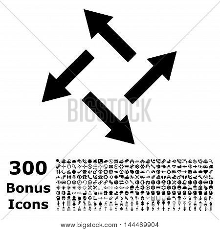 Centrifugal Arrows icon with 300 bonus icons. Vector illustration style is flat iconic symbols, black color, white background.