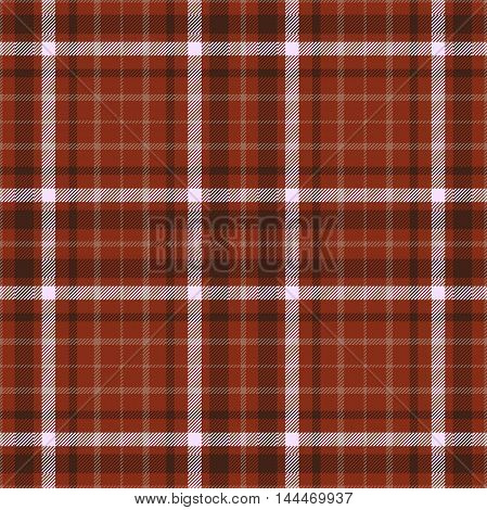 Seamless tartan plaid pattern in shades of henna reddish brown & white.