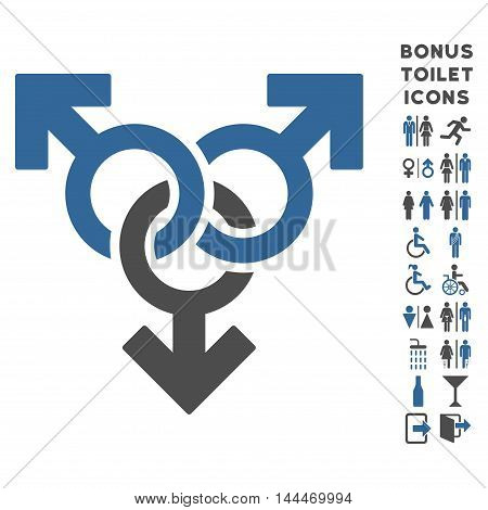 Group Gay Sex icon and bonus man and lady WC symbols. Vector illustration style is flat iconic bicolor symbols, cobalt and gray colors, white background.