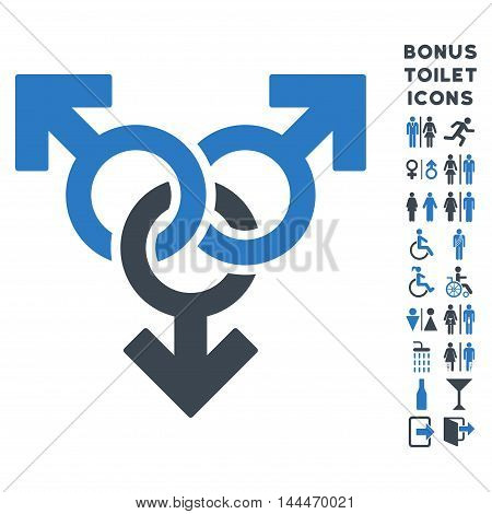 Group Gay Sex icon and bonus male and woman WC symbols. Vector illustration style is flat iconic bicolor symbols, smooth blue colors, white background.