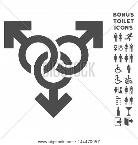 Group Gay Sex icon and bonus man and female toilet symbols. Vector illustration style is flat iconic symbols, gray color, white background.