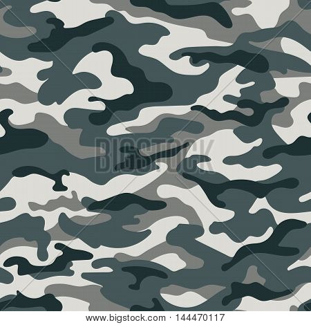 Military camouflage seamless pattern, gray color. Vector illustration
