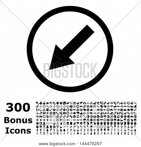 Down-Left Rounded Arrow icon with 300 bonus icons. Vector illustration style is flat iconic symbols, black color, white background.