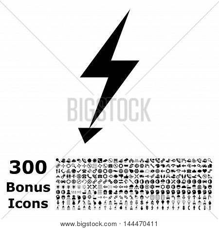Electric Strike icon with 300 bonus icons. Vector illustration style is flat iconic symbols, black color, white background.