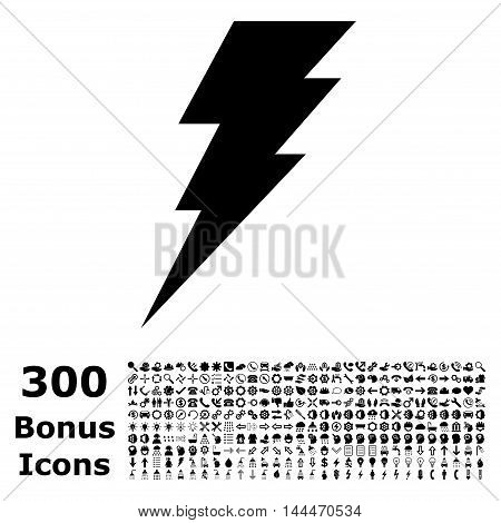 Execute icon with 300 bonus icons. Vector illustration style is flat iconic symbols, black color, white background.