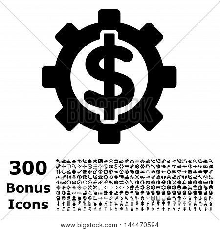 Financial Options icon with 300 bonus icons. Vector illustration style is flat iconic symbols, black color, white background.