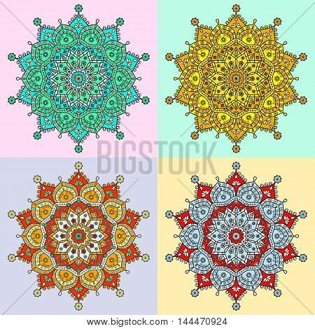 Set of four colored versions of floral mandala pattern in tones of red, golden, red and blue. Decorative oriental ornament with symbols of lotus, wheel, spiral elements, stars and water drops.
