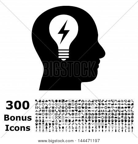 Head Bulb icon with 300 bonus icons. Vector illustration style is flat iconic symbols, black color, white background.