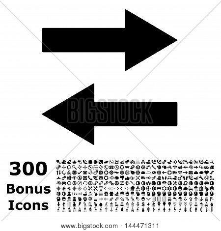 Horizontal Flip Arrows icon with 300 bonus icons. Vector illustration style is flat iconic symbols, black color, white background.