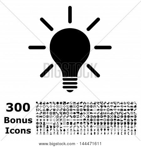 Light Bulb icon with 300 bonus icons. Vector illustration style is flat iconic symbols, black color, white background.