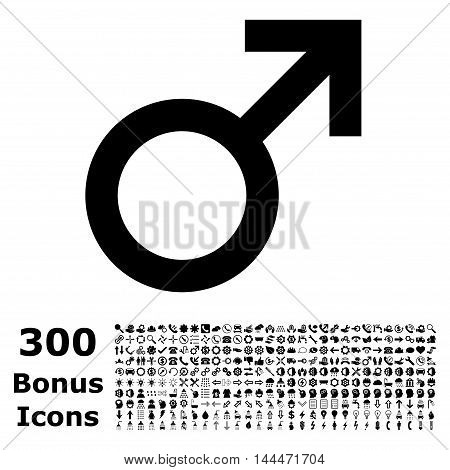 Male Symbol icon with 300 bonus icons. Vector illustration style is flat iconic symbols, black color, white background.
