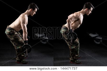 Barbell bent over row exercise. Studio shot over black.