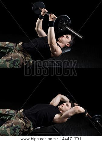 Bent-arm barbell pullover exercise. Studio shot over black.