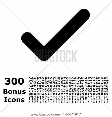 Ok icon with 300 bonus icons. Vector illustration style is flat iconic symbols, black color, white background.