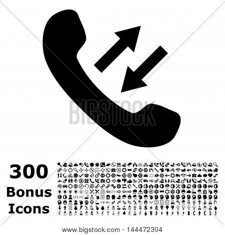 Phone Talking icon with 300 bonus icons. Vector illustration style is flat iconic symbols, black color, white background.